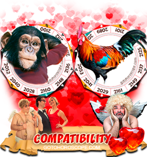 Monkey Rooster Zodiac signs Compatibility Horoscope