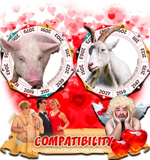 Pig Ram Zodiac signs Compatibility Horoscope