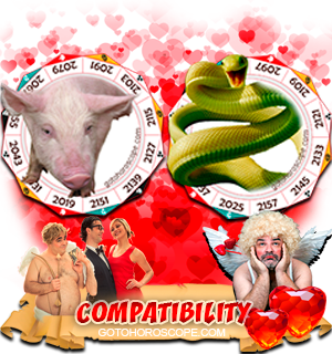 Pig Snake Zodiac signs Compatibility Horoscope