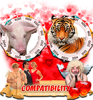 Pig Tiger Zodiac signs Compatibility Horoscope