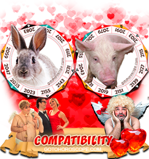 Rabbit Pig Zodiac signs Compatibility Horoscope