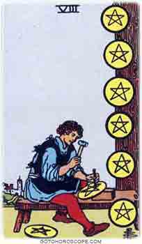 Eight of pentacles Tarot Card Meanings for Minor Arcana