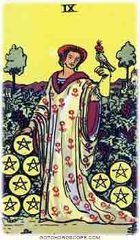 Nine of pentacles Tarot Card Meanings for Minor Arcana