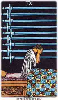 Nine of swords Upright Tarot Card Meanings