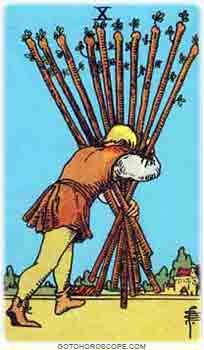 Ten of wands Upright Tarot Card Meanings
