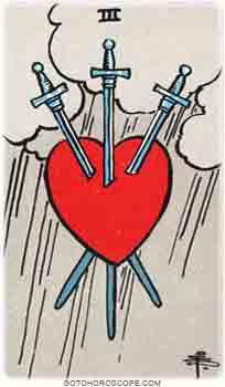 Three of swords Tarot Card Meanings for Minor Arcana