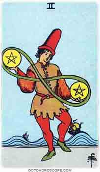 Two of pentacles Upright Tarot Card Meanings